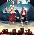 2girls ada_wong ada_wong_(cosplay) android_18 bangs black_bra black_legwear blonde_hair blue_eyes bra breasts bulma choker claire_redfield claire_redfield_(cosplay) clenched_hand collaboration commentary cosmicdairy cosplay darmengine denim dog_tags dragon_ball dragon_ball_z dress english_commentary finger_on_trigger gun hair_pulled_back handgun happy_birthday huge_breasts jacket jeans leather leather_jacket mr._x multiple_girls pants pantyhose pistol ponytail red_jacket resident_evil short_dress short_hair strapless strapless_bra swept_bangs torn_clothes torn_dress torn_jeans torn_legwear torn_pants underwear weapon zombie