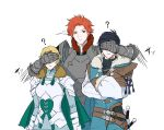 1girl 2boys 9jsleep armor belt black_hair blonde_hair cape closed_mouth covering_another's_eyes crossed_arms felix_hugo_fraldarius fire_emblem fire_emblem:_three_houses fur_trim green_cape ingrid_brandl_galatea long_sleeves multiple_boys parted_lips redhead sheath sheathed short_hair simple_background sword sylvain_jose_gautier upper_body weapon white_background