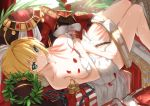 1girl ahoge bare_arms bare_legs bare_shoulders belt blonde_hair breasts breasts_apart chain closed_mouth collarbone commentary_request couch day dress dress_removed epaulettes fate/grand_order fate_(series) feet_out_of_frame flower green_eyes hair_intakes head_wreath highres indoors knees_up leotard lock lying medium_breasts nero_claudius_(bride)_(fate) nero_claudius_(fate)_(all) on_back on_couch padlock red_dress red_flower red_rose rose short_hair smile solo strapless strapless_leotard sunlight tsuuhan white_leotard zipper_pull_tab