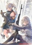 2girls ahoge ammunition_belt arm_strap bangs bare_shoulders black_footwear black_gloves black_jacket black_shirt boots commentary_request daito girls_frontline gloves goggles goggles_around_neck grey_hair gun hair_ornament hair_over_one_eye high_collar highres holding holding_gun holding_weapon jacket leg_belt long_hair long_sleeves looking_at_viewer looking_away multiple_girls off_shoulder pantyhose parted_lips pk_(girls_frontline) pk_machine_gun pkp_(girls_frontline) pkp_pecheneg ponytail red_eyes shirt sidelocks sitting sleeveless sleeveless_shirt standing strap thigh-highs thigh_boots watermark weapon white_shirt yellow_eyes