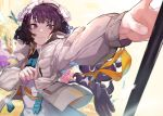 1girl akieda apron fate/grand_order fate_(series) gloves gloves_removed heroic_spirit_festival_outfit jacket katsushika_hokusai_(fate/grand_order) octopus pocket purple_hair smile tokitarou_(fate/grand_order)