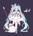 1girl aqua_hair arm_behind_back black_background boots bow broom commentary dress dress_bow fish full_body fur-trimmed_dress hair_bow hair_ornament hair_ribbon hatsune_miku heart heart_print holding holding_broom koi layered_dress long_hair looking_at_viewer nishina_hima ribbon short_sleeves standing star star_print twintails very_long_hair vocaloid white_dress wristband