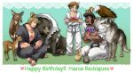 3boys bear bird blonde_hair crying dark_skin dark_skinned_male deer dougi eagle glasses happy_birthday highres marco_rodriguez mark_of_the_wolves miru_(mill_36) multiple_boys ryou_sakazaki ryuuko_no_ken squirrel wolf