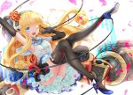 1girl ;d arm_up azur_lane black_gloves black_legwear blonde_hair blue_eyes blue_footwear bow breasts commentary_request crown drill_hair elbow_gloves fang gloves hairband high_heels holding holding_microphone leg_lift long_hair machinery microphone mini_crown one_eye_closed open_mouth petals queen_elizabeth_(azur_lane) shirt shoes sitting skirt sleeveless sleeveless_shirt small_breasts smile solo thigh-highs user_ksya5233 very_long_hair white_background white_bow white_shirt