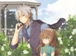 1boy 1girl aono_(aonocrotowa) bangs black_jacket blue_neckwear blue_shirt blurry blurry_background brown_hair china_dress chinese_clothes closed_mouth clouds collared_shirt couple day dress earrings eiyuu_densetsu eyebrows_visible_through_hair flower green_dress green_eyes hair_between_eyes highres holding holding_jacket jacket jacket_removed jewelry long_hair long_sleeves necktie outdoors petals petting rean_schwartzer red_eyes sen_no_kiseki shirt short_sleeves silver_hair smile striped striped_shirt towa_herschel upper_body vertical-striped_shirt vertical_stripes white_flower wing_collar