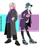 2girls absurdres anemone_(eureka_seven) bag bangs black_pants casual culottes denim earrings eureka eureka_seven eureka_seven_(series) fashion flat_chest fur_hat green_eyes hair_ornament hairclip hand_in_pocket handbag hat highres jeans jewelry long_hair looking_at_viewer makai multiple_girls nike orange_eyes pants parted_bangs pink_hair pinstripe_pattern product_placement round_eyewear shoes short_hair single_earring smile sneakers striped sunglasses sweater torn_clothes torn_jeans torn_pants trench_coat triangle_earrings turtleneck turtleneck_sweater unmoving_pattern ushanka violet_eyes