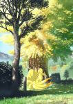 animal artist_request autumn_leaves blue_sky day forest fox full_body gen_1_pokemon grass looking_at_viewer multiple_tails nature ninetales no_humans outdoors pokemon red_eyes sky tail tree