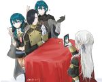 1boy 2girls armor black_cape black_gloves black_shorts blue_eyes blue_hair byleth_(fire_emblem) byleth_(fire_emblem)_(female) byleth_(fire_emblem)_(male) cape cardboard_cutout cellphone edelgard_von_hresvelg fire_emblem fire_emblem:_three_houses from_behind garreg_mach_monastery_uniform gloves hair_ribbon holding holding_phone hubert_von_vestra long_hair long_sleeves multiple_girls pantyhose phone red_cape ribbon robaco short_hair short_shorts shorts simple_background smartphone table twitter_username uniform v white_background white_gloves white_hair