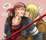 2boys billy_kane blonde_hair blue_eyes blush bomber_jacket earrings fatal_fury fingerless_gloves gloves hand_on_another's_face highres jacket jewelry looking_at_another miru_(mill_36) multiple_boys terry_bogard translation_request yaoi