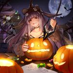 1girl animal_ears arknights bat black_hair candy costume food food_themed_hair_ornament full_moon hair_ornament halloween halloween_basket halloween_costume hat highres jack-o'-lantern lollipop long_hair moon okran pumpkin pumpkin_hair_ornament pumpkin_hat swirl_lollipop tail witch witch_hat