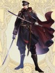 1boy beard belt black_cape black_headwear boots cape dairoku_youhei dual_wielding facial_hair full_body gloves grey_hair hat hi-na1 holding holding_sword holding_weapon looking_at_viewer male_focus military military_hat military_uniform mustache red_cape sheath standing sword uniform weapon white_gloves