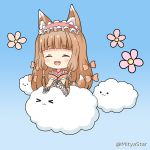 >_< 1girl :3 :d ^_^ animal_ear_fluff animal_ears bangs blue_background blush bow brown_bow brown_hair brown_kimono closed_eyes closed_mouth clouds commentary_request dog_ears dog_girl dog_tail eyebrows_visible_through_hair fang flower hair_bow himemiya_maho japanese_clothes kimono long_hair miicha open_mouth pink_flower princess_connect! princess_connect!_re:dive smile solo tail twitter_username very_long_hair