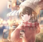 1girl :o arm_up bear blurry blurry_background brown_eyes brown_hair city_lights coat commentary cup depth_of_field disposable_cup hair_ornament hairclip highres holding holding_cup hoshiibara_mato knit_hat lantern light_particles long_sleeves looking_at_viewer medium_hair menu_board night original outdoors plaid plaid_scarf red_coat scarf sign solo standing upper_body white_headwear winter winter_clothes winter_coat