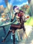 1boy asymmetrical_hair boots cake crossed_legs cup epaulettes fire_emblem fire_emblem:_three_houses fire_emblem_cipher flower food garreg_mach_monastery_uniform gloves grass kinoshita_kotetsu leaf lorenz_hellman_gloucester official_art one_eye_closed purple_hair rose sandwich sitting solo sparkle teacup teapot violet_eyes