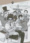 1girl 6+boys \m/ ace_combat ace_combat_7 artist_request black_hair bottle cellphone chair closed_eyes count_(ace_combat_7) dark_skin david_north drink everyone glass glasses hat highres holding huxian jaeger_(ace_combat) lanza_(ace_combat) long_hair looking_at_viewer monochrome multiple_boys open_mouth patch phone pilot plate ponytail sitting skald_(ace_combat) smartphone smile symbol table thumbs_up top_hat waving