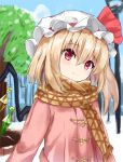 1girl alternate_costume bangs blonde_hair blue_sky blush brown_scarf casual commentary_request contemporary crystal day eyebrows_visible_through_hair flandre_scarlet hair_between_eyes hat hat_ribbon head_tilt highres kaeremu long_hair long_sleeves looking_at_viewer mob_cap one_side_up red_eyes red_ribbon ribbon scarf sky smile solo touhou tree upper_body white_headwear wings