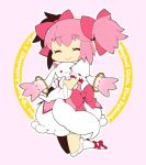1girl :3 ^_^ bubble_skirt chibi circle closed_eyes creature english_text eyebrows_visible_through_hair eyelashes floating frilled_skirt frilled_sleeves frills full_body gloves hair_between_eyes hair_ribbon happy hug kaname_madoka kyubey legs_together legs_up mahou_shoujo_madoka_magica mzh no_nose pink_background pink_hair pink_ribbon puffy_short_sleeves puffy_sleeves red_eyes red_footwear ribbon shiny shiny_hair short_hair short_sleeves short_twintails sidelocks simple_background skirt smile socks solo twintails white_gloves white_legwear white_skirt