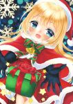 1girl :d bangs bell black_gloves blonde_hair blue_eyes blush bow box capelet christmas commentary_request diagonal_stripes dress elbow_gloves eyebrows_visible_through_hair fur-trimmed_capelet fur-trimmed_dress fur-trimmed_hat fur_trim gift gift_box gloves green_bow hat highres looking_at_viewer marker_(medium) mirai_(happy-floral) open_mouth original red_capelet red_dress red_headwear santa_costume santa_hat smile snowflakes solo star striped striped_bow traditional_media
