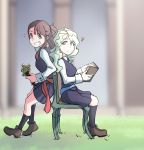 2girls ? absurdres blue_eyes blue_sash blush book brown_hair chair confused couple diana_cavendish embarrassed flower grass green_chair highres kagari_atsuko little_witch_academia long_hair looking_at_another luna_nova_school_uniform multiple_girls nervous nervous_smile red_eyes red_sash sash school_uniform sitting skirt uniform usbfan wavy_hair yuri