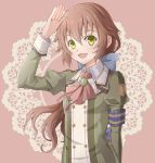 1girl :d aono_(aonocrotowa) armband ascot bangs blue_bow bow brown_hair collared_shirt eiyuu_densetsu floating_hair green_eyes green_jacket hair_between_eyes hair_bow jacket long_hair long_sleeves looking_at_viewer neck_ribbon open_mouth pink_background red_neckwear red_ribbon ribbon salute sen_no_kiseki shiny shiny_hair shirt smile solo towa_herschel uniform upper_body very_long_hair wing_collar