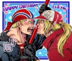 2boys anger_vein bandana baseball_cap billy_kane blonde_hair blue_eyes fatal_fury fingerless_gloves gloves happy_birthday hat highres jacket miru_(mill_36) multiple_boys ponytail red_jacket staff terry_bogard
