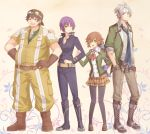2boys 2girls :d angelica_rogner aono_(aonocrotowa) armband ascot baseball_cap belt black_legwear blue_neckwear boots brown_belt brown_eyes brown_footwear brown_hair brown_headwear brown_pants brown_skirt closed_mouth collarbone collared_shirt crow_armbrust eiyuu_densetsu full_body george_nome_(eiyuu_densetsu) green_eyes green_jacket green_shirt grey_shirt hand_in_pocket hand_on_another's_shoulder hat jacket loafers long_hair long_sleeves miniskirt multiple_boys multiple_girls necktie open_clothes open_jacket open_mouth pants pantyhose plaid plaid_skirt pleated_skirt purple_hair purple_jacket purple_pants red_eyes red_neckwear school_uniform sen_no_kiseki shiny shiny_hair shirt shoes short_hair short_sleeves silver_hair skirt smile striped striped_shirt towa_herschel vertical-striped_shirt vertical_stripes very_long_hair white_background wing_collar yellow_jacket