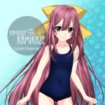 1girl alternate_costume artist_name blue_background blue_swimsuit bow character_name commentary_request cowboy_shot flat_chest floral_background gradient gradient_background hair_bow inaba_shiki kamikaze_(kantai_collection) kantai_collection long_hair looking_at_viewer purple_hair school_swimsuit smile solo swimsuit violet_eyes yellow_bow