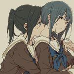 2girls blue_eyes commentary_request hibike!_euphonium hug hug_from_behind kasaki_nozomi kiss multiple_girls neck_kiss red_eyes ree_(re-19) school_uniform serafuku yoroizuka_mizore yuri