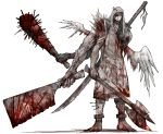 armor axe barefoot blood bloody_clothes bloody_weapon chain cleaver cloak club extra_arms eyepatch full_body holding holding_axe holding_knife kan_(aaaaari35) knife looking_at_viewer original solo spiked_club standing stitches sword weapon white_wings wings