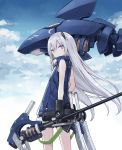 1girl ahoge bangs blue_jacket blue_sky commentary_request eyebrows_visible_through_hair from_behind gauntlets headgear highres holding holding_weapon jacket long_hair looking_at_viewer looking_back original poco_(asahi_age) robot shark shorts silver_hair sky sleeveless solo standing violet_eyes weapon