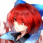 1girl absurdres black_shirt blue_bow bow collared_shirt grin hair_bow highres looking_at_viewer neck_scar portrait red_eyes redhead safutsuguon sekibanki shirt short_hair smile solo touhou