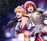 2girls :d black_gloves blonde_hair blue_eyes dress elbow_gloves garter_straps gloves hat highres holding holding_microphone kaname_buccaneer lens_flare long_hair macross macross_delta macross_frontier microphone mosako multiple_girls music open_mouth outstretched_arm outstretched_hand redhead sheryl_nome shiny shiny_hair shirt short_hair singing sky smile standing star_(sky) starry_sky thigh-highs violet_eyes white_dress white_headwear white_shirt