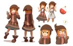 ! >:) +_+ 1girl absurdres bangs bare_arms bare_shoulders beanie blush boots brown_footwear brown_gloves brown_headwear brown_shirt brown_skirt clenched_hands closed_mouth commentary_request cropped_legs cropped_torso double_w dress elbow_gloves eyebrows_visible_through_hair fang gloves grey_dress hair_between_eyes hands_up hat highres idaten93 long_hair long_sleeves multiple_views nina_alright orange_hair original parted_lips round-bottom_flask shadow shirt sidelocks simple_background skirt sleeveless sleeveless_dress smile spoken_exclamation_mark squiggle standing standing_on_one_leg suspender_skirt suspenders sweat v-shaped_eyebrows w wavy_mouth white_background