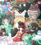 1girl @_@ absurdres animal annoyed bare_shoulders bat_wings bear bird black_eyes bow brown_eyes brown_hair bug cat chen chen_(cat) chicken clouds collared_shirt cowboy_hat crow crystal detached_sleeves dog dragon evil_smile fang fish flandre_scarlet flandre_scarlet_(bat) fox frilled_bow frilled_skirt frills frog fujiwara_no_mokou fujiwara_no_mokou_(phoenix) futatsuiwa_mamizou futatsuiwa_mamizou_(tanuki) glaring grimace hair_bow hair_tubes hakurei_reimu hat hat_ribbon highres himekaidou_hatate himekaidou_hatate_(crow) hong_meiling hoshiguma_yuugi houjuu_nue imaizumi_kagerou imaizumi_kagerou_(wolf) inaba_tewi inaba_tewi_(bunny) inubashiri_momiji inubashiri_momiji_(wolf) kaenbyou_rin kaenbyou_rin_(cat) kamishirasawa_keine kamishirasawa_keine_(hakutaku) kasodani_kyouko kasodani_kyouko_(yamabiko) kicchou_yachie kicchou_yachie(jidiao) komano_aun komano_aun_(komainu) kurodani_yamame kurodani_yamame_(spider) kurokoma_saki kurokoma_saki_(pegasus) laughing leaf leaf_on_head looking_at_another looking_at_viewer midriff mob_cap moriya_suwako moriya_suwako_(frog) mouse mystia_lorelei mystia_lorelei_(bird) nazrin nazrin_(mouse) niwatari_kutaka niwatari_kutaka_(chicken) open_mouth pom_poms profitshame rabbit red_bow red_eyes red_ribbon red_shirt red_skirt reisen_udongein_inaba reisen_udongein_inaba_(bunny) reiuji_utsuho reiuji_utsuho_(bird) remilia_scarlet remilia_scarlet_(bat) ribbon ribbon-trimmed_sleeves ribbon_trim shameimaru_aya shameimaru_aya_(crow) shirt skirt skirt_set sky sleeveless sleeveless_shirt smile snake spider teeth tiger tokin_hat tongue toramaru_shou toramaru_shou_(tiger) touhou toyosatomimi_no_miko toyosatomimi_no_miko_(owl) ushizaki_urumi ushizaki_urumi(ushi_oni) wakasagihime wakasagihime_(fish) wings wolf wriggle_nightbug wriggle_nightbug_(bug) yakumo_ran yakumo_ran_(fox) yasaka_kanako yasaka_kanako_(snake) yellow_neckwear