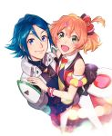 1boy 1girl :d arm_scrunchie black_bow black_gloves blonde_hair blue_eyes blue_hair bow bracelet brown_hair closed_mouth couple freyja_wion gloves green_eyes hair_between_eyes hair_bow hair_ornament hairclip hayate_immelmann heart heart_hair_ornament highres hug jewelry macross macross_delta mosako multicolored_hair necktie one_side_up open_mouth pilot_suit pink_bow red_bow simple_background smile two-tone_hair white_background