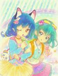 2girls :q animal_ears arm_grab artist_logo backpack bag bangs blue_hair blue_jacket bow braid cat_ears choker commentary earrings eyebrows_visible_through_hair food green_eyes green_hair hagoromo_lala hair_bow hair_ornament handbag highres holding holding_food ice_cream_cone jacket jewelry kosame_koori layered_skirt leaning_forward licking_lips long_hair looking_at_viewer medium_hair multicolored_bow multicolored_shirt multiple_girls necklace one_eye_closed open_mouth orange_choker pointy_ears precure print_shirt purple_skirt rainbow shirt single_braid skirt smile sparkle standing star star_hair_ornament star_twinkle_precure starry_background tongue tongue_out twitter_username watch watch white_shirt yellow_skirt yuni_(precure)