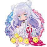 +_+ 1girl azur_lane blue_eyes chibi dress dress_pull floral_background flower gradient_hair le_malin_(azur_lane) long_hair manjuu_(azur_lane) multicolored_hair pillow solo user_ksya5233 white_background white_dress