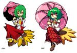 1girl absurdres arm_belt artist_progress ascot brown_footwear commentary comparison dated dress_shirt english_commentary flower full_body green_hair highres holding holding_umbrella kazami_yuuka parasol pink_umbrella plaid plaid_skirt plaid_vest red_eyes red_skirt red_vest setz shirt simple_background skirt slit_pupils smile sunflower touhou umbrella vest white_background white_shirt yellow_neckwear