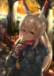 1girl alternate_costume autumn autumn_leaves ayanami_(azur_lane) azur_lane bangs black_gloves blonde_hair blush can closed_mouth commentary_request eyebrows_visible_through_hair fingerless_gloves gloves hair_between_eyes headgear highres holding holding_can jacket long_hair long_ponytail long_sleeves looking_at_viewer misomiso_154 neckerchief plaid plaid_scarf ponytail red_scarf scarf sidelocks smile solo standing tree yellow_eyes yellow_neckwear