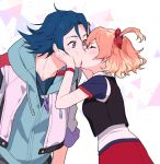 1boy 1girl blonde_hair blue_eyes blue_hair blush bow brown_hair closed_eyes couple french_kiss freyja_wion hair_between_eyes hair_bow hand_on_another's_cheek hand_on_another's_face hayate_immelmann hood hood_down hooded_cardigan jewelry kiss long_sleeves macross macross_delta mosako multicolored_hair necklace one_side_up red_bow red_skirt short_hair short_sleeves skirt two-tone_hair