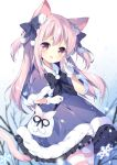 1girl animal_ear_fluff animal_ears azur_lane bag bow capelet cat_ears cat_tail commentary_request dress fur_trim gloves hair_bow hand_to_own_mouth kisaragi_(azur_lane) long_hair open_mouth outdoors pantyhose pink_eyes pink_hair purple_capelet purple_dress ribbon smile snow snowflakes solo striped striped_legwear tail tree tsukimi_(xiaohuasan) two_side_up white_gloves