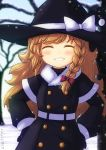 1girl alternate_costume blonde_hair blush bow braid closed_eyes coat drawfag eyebrows_visible_through_hair gloves grin hair_bow hands_on_hips hat highres kirisame_marisa long_sleeves side_braid single_braid smile snow snowing solo teeth touhou tree witch_hat