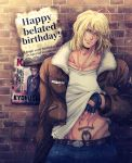 1boy blonde_hair blue_eyes brick_wall denim fatal_fury fingerless_gloves fur-trimmed_jacket fur_trim gloves happy_birthday highres jacket jeans mark_of_the_wolves miru_(mill_36) one_eye_closed pants poster_(object) pubic_tattoo ryou_sakazaki shirt_lift tattoo terry_bogard