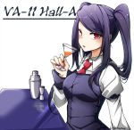 1girl artist_request bartender cocktail cocktail_glass cocktail_shaker cup drinking_glass highres jill_stingray looking_at_viewer necktie purple_hair red_eyes solo twintails va-11_hall-a