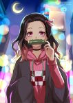 1girl adapted_costume bamboo bangs bit_gag black_choker black_hair brown_hair checkered choker commentary_request contemporary crescent_moon forehead gag hair_ribbon hand_up hood hood_down hoodie kamado_nezuko kimetsu_no_yaiba long_hair long_sleeves moon mouth_hold multicolored_hair night night_sky outdoors parted_bangs pink_eyes pink_hoodie pink_ribbon ribbon sky sleeves_past_fingers sleeves_past_wrists solo ten-chan_(eternal_s) twitter_username two-tone_hair upper_body wide_sleeves