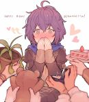5girls bernadetta_von_varley blush cake dorothea_arnault edelgard_von_hresvelg fire_emblem fire_emblem:_three_houses food garreg_mach_monastery_uniform grey_eyes happy_birthday holding hood hood_down ingrid_brandl_galatea jewelry kvlen long_sleeves multiple_girls petra_macneary plant plate potted_plant purple_hair ring ring_box short_hair simple_background solo_focus stuffed_animal stuffed_toy teddy_bear uniform upper_body white_background
