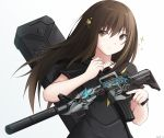 1girl assault_rifle bangs black_sailor_collar black_shirt brown_eyes brown_hair closed_mouth collarbone commentary eyebrows_visible_through_hair girls_frontline glowing gradient gradient_background grey_background gun hair_between_eyes hair_ornament hand_up highres holding holding_gun holding_weapon keenh long_hair m4_carbine m4a1_(girls_frontline) neckerchief object_namesake rifle sailor_collar shirt short_sleeves signature smile solo sparkle upper_body weapon white_background yellow_neckwear