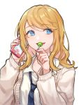 1girl bangs black_neckwear blonde_hair blue_eyes candy cardigan cellphone collarbone collared_shirt dress_shirt eyebrows_visible_through_hair food hair_between_eyes holding holding_cellphone holding_food holding_phone lollipop long_hair looking_away looking_to_the_side necktie open_cardigan open_clothes original parted_lips phone saino school_uniform shirt simple_background solo upper_body white_background white_cardigan white_shirt