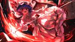 1girl back_bow bat_wings blue_hair bow clock clock_tower commentary_request dress fangs flying frills full_body hat hat_ribbon highres lithiumrider long_sleeves looking_at_viewer mob_cap moon night open_mouth outdoors pink_dress pink_headwear pointing red_bow red_eyes red_footwear red_moon red_nails red_ribbon remilia_scarlet ribbon scarlet_devil_mansion short_hair sky slit_pupils smile solo star_(sky) starry_sky touhou tower vampire white_legwear wings