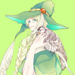 1boy abby_(troser) animal animal_on_shoulder bird bird_on_shoulder blonde_hair blue_eyes braid green_background green_headwear hat hat_feather long_hair looking_at_viewer magi_the_labyrinth_of_magic male_focus owl parted_lips simple_background single_braid solo upper_body yunan